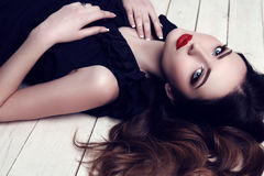 Free Beautiful Woman With Dark Hair And Bright Makeup Royalty Free Stock Photo - 51261645
