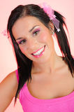 Beautiful Woman With Dual Pony Tails Hairstyle Stock Photo