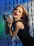 Beautiful Woman With Fashion Stage Make-up Singing Royalty Free Stock Photos