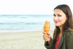 Beautiful Woman With Ice-cream Stock Photography
