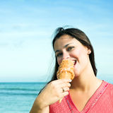 Beautiful Woman With Ice-cream Royalty Free Stock Photography