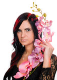 Beautiful Woman With Orchid Stock Photography