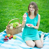 Beautiful Woman With Picnic Basket Eating Watermelon In Summer P Royalty Free Stock Photos