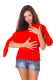 Beautiful Woman With Red Heart - Love Concept Stock Photos