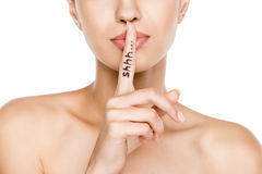 Free Beautiful Woman With Shh Symbol, Isolated On White Stock Image - 99045151