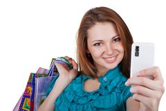 Beautiful Woman With Shopping Bags And Phone Stock Images
