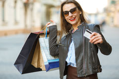Beautiful Woman With Shopping Bags In The Ctiy Royalty Free Stock Photos
