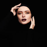 Beautiful woman.woman face like a mask.beauty Royalty Free Stock Photos