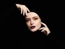 Beautiful woman.woman face like a mask.beauty Royalty Free Stock Photo
