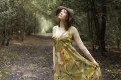 Beautiful woman in a woodland Royalty Free Stock Photos