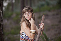 Beautiful woman in the woods Stock Photos