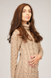 Beautiful woman in wool dress Royalty Free Stock Photography