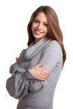Beautiful woman in a wool knit sweater Stock Photography