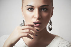 Beautiful woman in woolen dress.accessories.manicure Royalty Free Stock Photography