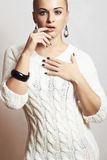 Beautiful woman in woolen dress.accessories.manicure Stock Photos