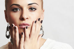 Beautiful woman in woolen dress.accessories.manicure Stock Images
