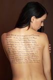 Beautiful woman with words Stock Photography