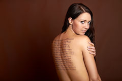 Beautiful woman with words Stock Image