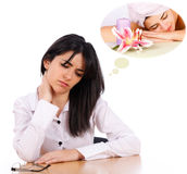 Thinking About The Deserved Relaxation stock image