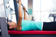 Beautiful woman work out with barbell Royalty Free Stock Image