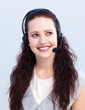 Beautiful woman working in a call center Stock Images