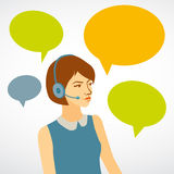 Beautiful woman working in a call center with speech bubbles. gi Royalty Free Stock Photography