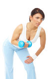 Beautiful woman working with dumb-bells Royalty Free Stock Photo