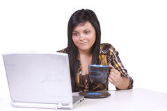 Beautiful Woman Working on her Laptop Stock Photography