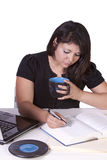 Beautiful Woman Working on her Laptop Stock Photo