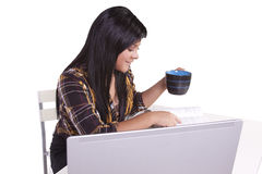 Beautiful Woman Working on her Laptop Royalty Free Stock Photo