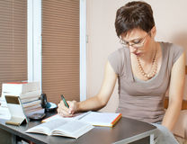 Beautiful woman working at home. On agenda Royalty Free Stock Photos