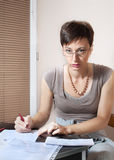 Beautiful woman working at home. On agenda Stock Image