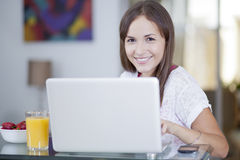 Beautiful woman working from home Royalty Free Stock Image