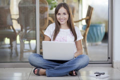 Beautiful woman working at home Stock Photo