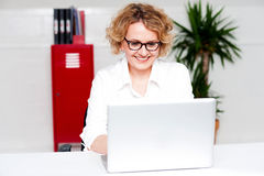 Beautiful woman working in labtop stock photos