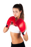 Beautiful woman working out with boxing gloves Stock Image