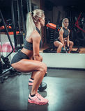 Beautiful woman working out with a dumbbells Royalty Free Stock Images