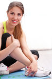 Beautiful woman working out at home Royalty Free Stock Photography