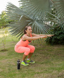 Beautiful woman working out in summer park Royalty Free Stock Photography