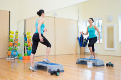 Free Beautiful Woman Working Out With Stepper In Gym Royalty Free Stock Photos - 56558138