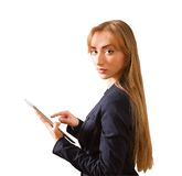 Beautiful woman working on Tablet PC Stock Images