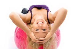 Beautiful Woman Works Out On The Fitness Ball Stock Photos