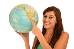 Beautiful Woman with World Globe Royalty Free Stock Photo