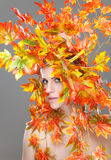 Beautiful woman wrapped in autumn leafs Stock Photography