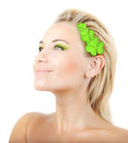 Beautiful woman with wreath of clover Royalty Free Stock Photography