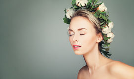 Beautiful Woman with Wreath of Organic Leaves Stock Photography