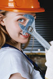Beautiful Woman With Wrench Stock Image
