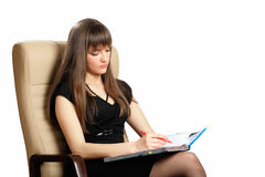 Beautiful woman writing notes Royalty Free Stock Photo