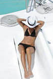 Beautiful woman on the yacht Royalty Free Stock Image