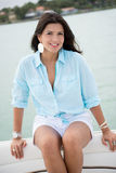 Beautiful woman in a yacht Royalty Free Stock Photography
